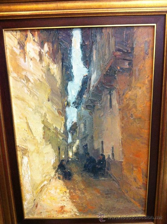 EXCELENTE ESCENA CASTELLANA, VIEJAS SENTADAS EN UNA CALLEJUELA, 70X55 (Arte - Pintura - Pintura al Óleo Contemporánea )