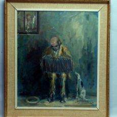 Arte: OLEO LIENZO ANCIANO TOCANDO EL ACORDEON CON PERRO ESCUELA VASCA NAVARRA JOSE ANTONIO NARVARTE 1969. Lote 36304427