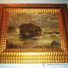 Arte: PINTURA OLEO SOBRE TABLA, COSTA MALLORCA ??, CALA CON ISLOTE Y BARCAS, ANONIMO, SIGLOXIX. Lote 36322291
