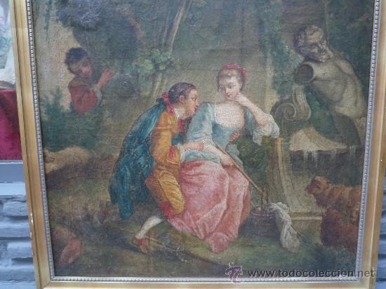 Arte: cuadro frances al oleo con escena galante finales del s. XVIII y principios del S. XIX - Foto 22 - 29220253