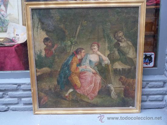 Arte: cuadro frances al oleo con escena galante finales del s. XVIII y principios del S. XIX - Foto 21 - 29220253
