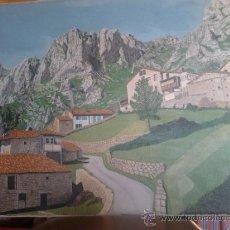 Arte: PAISAJE AL OLEO SOBRE TELA 73X50 CM, ANONIMO, ME CUENTAN QUE ES ASTURIAS ZONA DE CABRALES (TIELVE). Lote 36388211