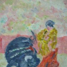 Arte: OLEO CON MOTIVO TAURINO FIRMADO CHECA-34,5X 26,5. Lote 36422474