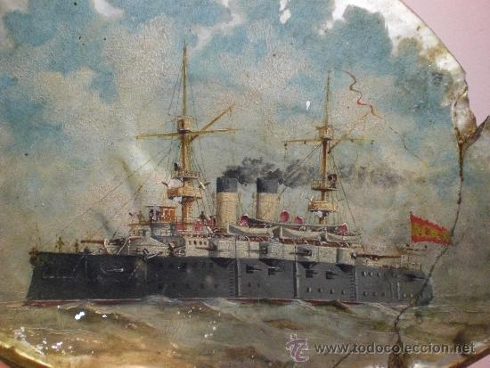 Arte: Barco de Guerra. Oleo sobre concha de nacar. Armada Española. Fechada en 1900. Firmada: Bozano - Foto 2 - 36476002
