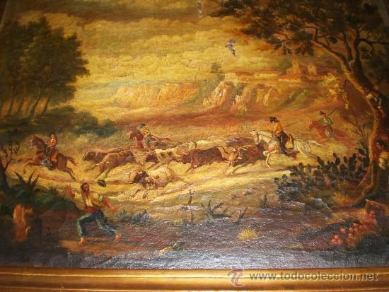 OLEO SOBRE LIENZO, S.XIX, MOTIVO TAURINO (Arte - Pintura - Pintura al Óleo Moderna siglo XIX)