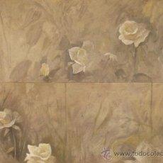 Arte: DOMINGO CORREA. 2 ÓLEOS SOBRE TABLA. 'FLORES EN NEUTRO'. ROSAS. PINTURA. JARDÍN. 55 X 40 CM.. Lote 36487509