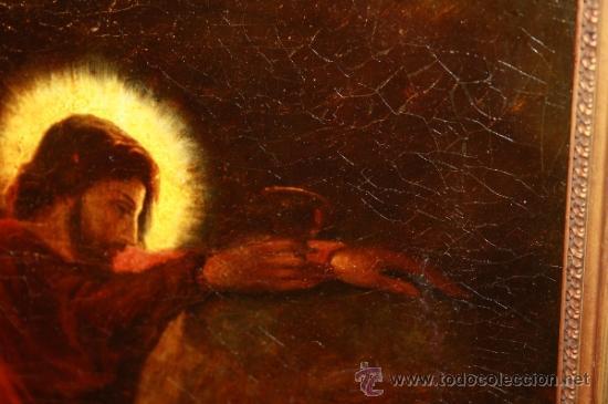 Arte: E3-004. O/L DEL S.XIX - CRISTO ILUMINADO CON EL CÁLIZ - FIRMA ILEGIBLE EN EL REVERSO - Foto 5 - 36601986