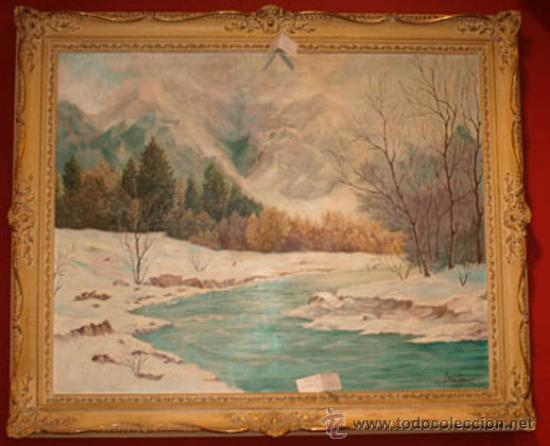 ANTIGUO OLEO PAISAJE NEVADO, FIRMADO J MARTIN 1961. IMPORTANTE MARCO (Arte - Pintura - Pintura al Óleo Contemporánea )