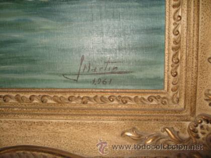Arte: ANTIGUO OLEO PAISAJE NEVADO, FIRMADO J MARTIN 1961. IMPORTANTE MARCO - Foto 3 - 36739122