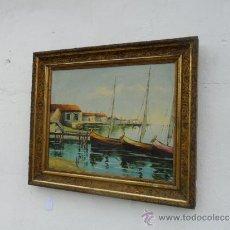 Arte: PINTURA ANTIGUA MARINA Y MARCO DORADO. Lote 36739881