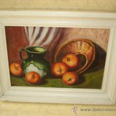 Arte: BODEGON - OLEO SOBRE TABLA - SIN FIRMA - ENMARCADO - 32 X 24 CM. TOTAL. Lote 36834535