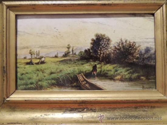 Arte: CUADRO AL ESMALTE SOBRE BARRO FIRMADO FROMENTIN 1868 - Foto 2 - 36774925