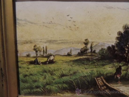 Arte: CUADRO AL ESMALTE SOBRE BARRO FIRMADO FROMENTIN 1868 - Foto 4 - 36774925
