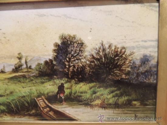 Arte: CUADRO AL ESMALTE SOBRE BARRO FIRMADO FROMENTIN 1868 - Foto 5 - 36774925