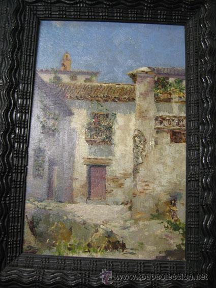 OPORTUNIDAD ÓLEO TABLA PAISAJE ANDALUZ ATRIBUIDO A MANUEL GARCIA RODRIGUEZ (Arte - Pintura - Pintura al Óleo Moderna siglo XIX)
