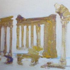 Arte: RUINAS DE BAALBECK. LIBANO. ACRILICO SOBRE TABLA DE MADERA. 40 CM POR 30 CM. VER FOTOS.. Lote 36788399