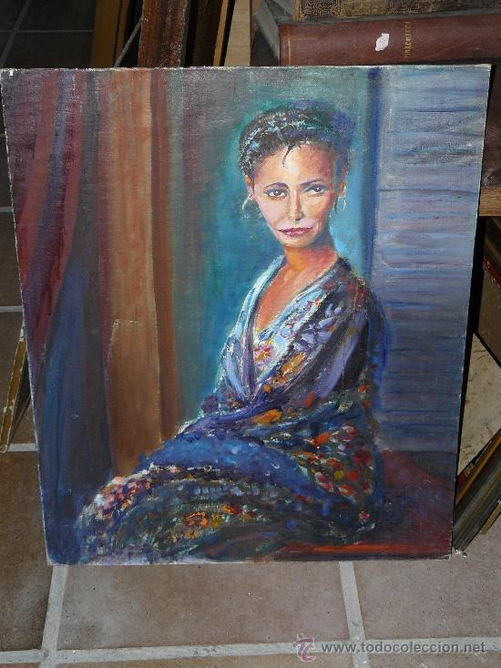 OLEO / TABLILLA ENTELADA - ANÓNIMO- RETRATO FEMENINO (Arte - Pintura - Pintura al Óleo Contemporánea )
