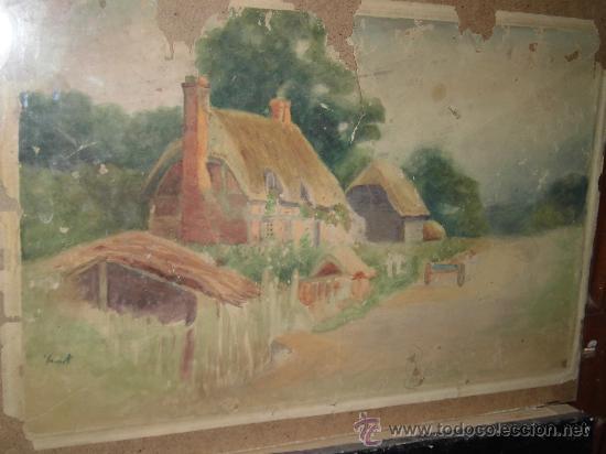 PINTURA ANTIGUA SOBRE 100 AÑOS PAISAJE HOLANDES MUY DETERIORADO A RESTAURAR (Arte - Pintura - Pintura al Óleo Antigua sin fecha definida)