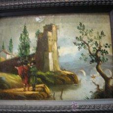 Arte: ANTIGUO CUADRO - ÓLEO SOBRE COBRE ORIGINAL DEL SIGLO XVIII - CASTILLO CON MOSQUETEROS. Lote 36960234
