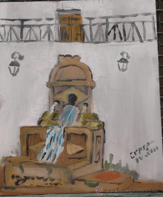 BERJA ,FUENTE DEL ORO , ÓLEO SOBRE TABLA DE 20X25 CM. DE CRESPO (Arte - Pintura Directa del Autor)