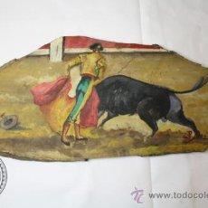 Arte: PINTURA ESCENA TAURINA - TORERO TORO - FIRMADO ABAD ARROYO - OLEO SOBRE MADERA. Lote 37031553