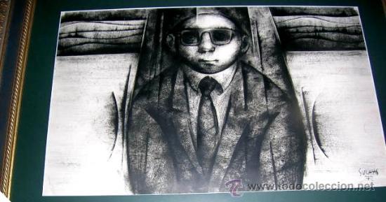 ALFONSO SUCASAS GUERRA. TECNICA MIXTA:OLEO-TINTAS A PINCEL1972-74.FIRMADO CERTIFICADO MD 46X75CM (Arte - Pintura - Pintura al Óleo Contemporánea )