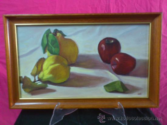 CUADRO PINTURA AL OLEO SOBRE CARTON : 'MEMBRILLOS Y MANZANAS'. MACU 1991 (Arte - Pintura - Pintura al Óleo Contemporánea )