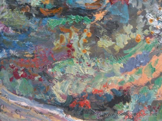 Arte: PAISAJE OTOÑAL. ÓLEO DE MANUEL FRUTOS LLAMAZARES. AÑO 1962. LEÓN 1935, MURCIA 2010. - Foto 5 - 37104211