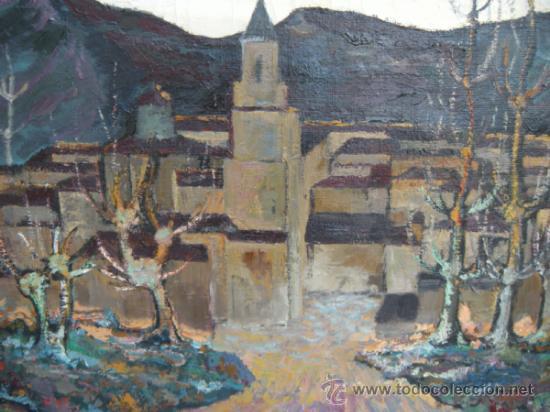 PAISAJE OTOÑAL. ÓLEO DE MANUEL FRUTOS LLAMAZARES. AÑO 1962. LEÓN 1935, MURCIA 2010. (Arte - Pintura - Pintura al Óleo Contemporánea )