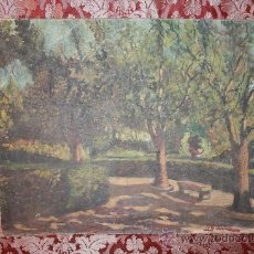 Arte: O/L DE FINALES DEL S.XIX - FIRMADO ¿GARBI? - ESCUELA CATALANA - REPRESENTANDO PARQUE. Lote 37119788