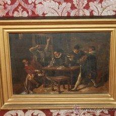 Arte: E2-011. O/T FIRMADO J. CORNELL AÑO 1879 MADRID ESCENA COSTUMBRISTA, PARTIDA DE CARTAS. Lote 37213102