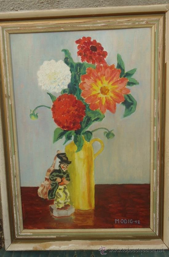 ANTIGUO CUADRO PINTURA OLEO JARRON FLORES CON FIGURA DE MUSICO FIRMADO MODIG AÑOS 40 (Arte - Pintura - Pintura al Óleo Contemporánea )