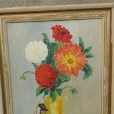 Arte: ANTIGUO OLEO JARRON FLORES CON FIGURA DE MUSICO FIRMADO MODIG AÑOS 40. Lote 37248638
