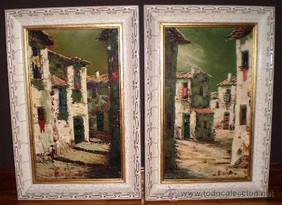 Dos bonitos cuadros calle de un pueblo pintado comprar for Comprar cuadros bonitos