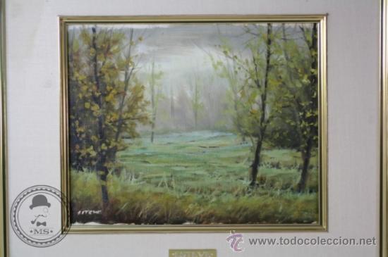 Arte: Pintura al Oleo - Paisaje de Montaña, Bosque - Antonio Esteve Senis - 45,5 x 41 cm Enmarcado - Foto 2 - 37345092