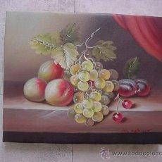 Arte: BODEGÓN CON ALBARICOQUES, UVAS Y CIRUELAS AL ÓLEO . Lote 37422021