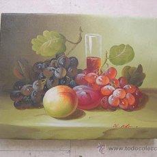 Arte: BODEGÓN CON ALBARICOQUES, UVAS Y CIRUELAS AL ÓLEO . Lote 37422100