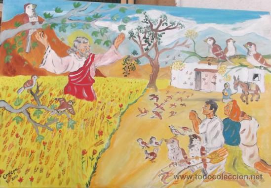 LOS SIETE VARONES APOSTÓLICOS , SAN TESIFÓN ,OBISPO DE BERJA , MILAGRO DE LOS GORRIONES DE CRESPO (Arte - Pintura Directa del Autor)