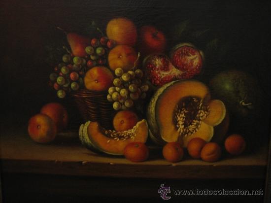Arte: Bodegon pintado a oleo sobre lienzo. Medidas marco 68x70 y lienzo 50x61 cm - Foto 3 - 54311470