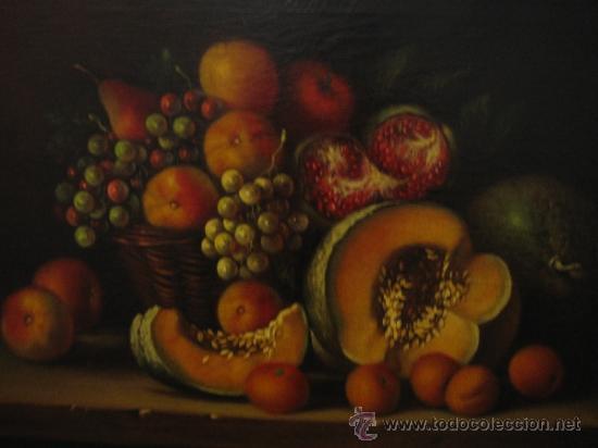 Arte: Bodegon pintado a oleo sobre lienzo. Medidas marco 68x70 y lienzo 50x61 cm - Foto 7 - 54311470