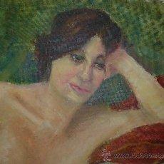 Arte: OLEO / TABLEX - FDO M.G.S. - RETRATO FEMENINO. Lote 37545383