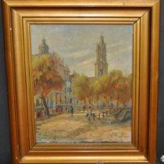 Arte: FRANCESC PLANAS DORIA (SABADELL, 1879 - 1955) OLEO TELA. AÑOS 30. VISTA URBANA. Lote 37596737