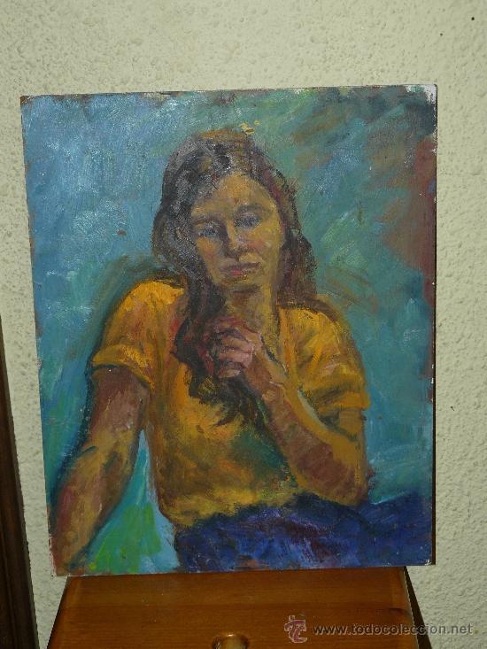 OLEO / TABLEX - FDO M.G.S. - RETRATO FEMENINO (Arte - Pintura - Pintura al Óleo Contemporánea )