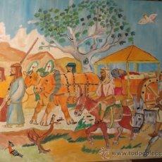 Arte: VARONES APOSTÓLICOS, EL TRASLADO DE SANTIAGO A ESPAÑA, 60X80 CM. ÓLEO LIENZO CRESPO. Lote 37611707