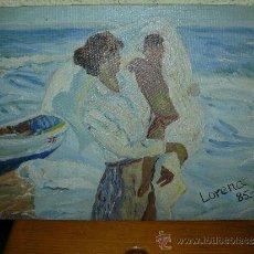 Arte: OLEO / TABLILLA ENTELADA - LORENA - SIGUIENDO A SOROLLA - MADRE Y NIÑO EN LA PLAYA. Lote 37652448