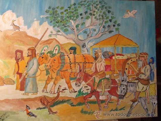 SANTIAGO, EL CADÁVER DE SANTIAGO ES TRAIDO A ESPAÑA POR LOS VARONES APOSTÓLICOS,D CRESPO (Arte - Pintura Directa del Autor)