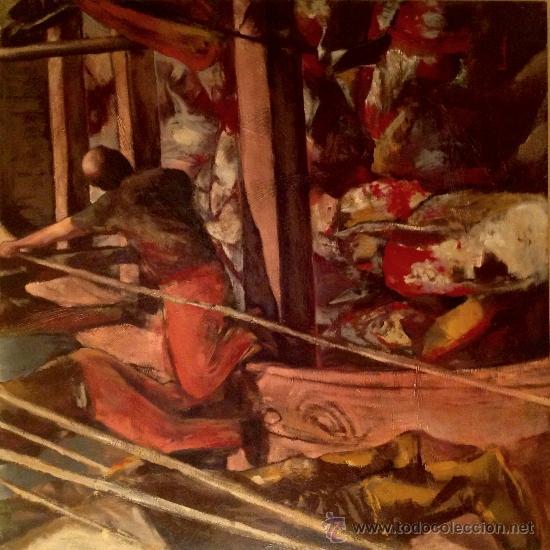 CUADRO ÓLEO LA PESCA DEL ATÚN / PINTOR RICARDO PARABÊRE MEDIDAS 117X 82CM (Arte - Pintura - Pintura al Óleo Contemporánea )