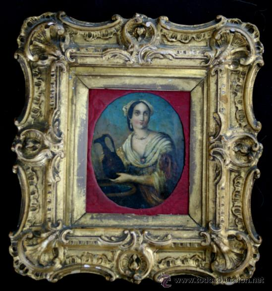 RETRATO MINIATURA ITALIANA - ÓLEO SOBRE COBRE - S. XVIII (Arte - Pintura - Pintura al Óleo Antigua siglo XVIII)