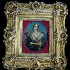 Arte: RETRATO MINIATURA ITALIANA - ÓLEO SOBRE COBRE - S. XVIII. Lote 37714515