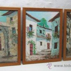 Arte: LOTE DE 3 BELLAS PINTURAS AL OLEO CALLES CASCO ANTIGUO - FIRMADAS - ENMARCADAS MOLDURA PINO RUSTICO. Lote 37757148